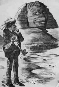 """Moses in Ägypten Der jüdische Premierminister Disraeli hat durch einen geschickten Coup den Besitz des Vizekönigs von Ägypten an Suez- Kanal- Aktien in die Hände des englischen Staates gebracht und verfügt nun über den """"Schlüssel nach Indien"""". Karikatur von John Tennier aus dem"""" Punch"""" (1875)."""