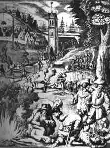 Die Flibustier vor Panama Um den spanischen Kolonisten Aussagen über den Verbleib ihres Vermögens zu erpressen, wandten die Flibustier beispiellos raffinierte Foltermethoden an. - Alter holländischer Stich..