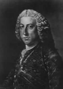 """William Pitt der Ältere (1708-1778) – Pitt entstammte einer Familie, die in Indien Reichtümer gesammelt hatte, und wurde der unbeugsame Verfechter einer hemmungslosen Ausbreitung der britischen Macht. Von ihm stammt der klassische Ausspruch: """"In Deutschland haben wir Kanada erobert."""" Stich von R. Hodgson."""