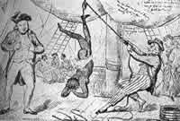 Auf einem Sklavenschiff – Gegen die unwürdige, vielfach sadistischen Gelüsten entspringende Behandlung der Negersklaven regte sich selbst in England schließlich die Empörung. Doch die Vorkämpfer für Abschaffung des Sklavenhandels konnten ihr Ziel erst erreichen, als die Sklavenwirtschaft unrentabel wurde (1833)