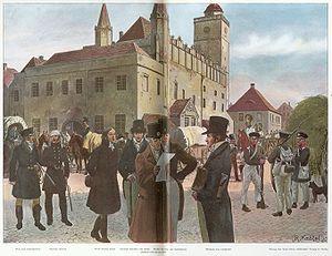 Theodor Körner mit Max von Schenkendorf, Ernst Moritz Arndt, Heinrich Theodor von Schön, Karl Freiherr vom Stein, August von Hardenberg und Wilhelm von Humboldt