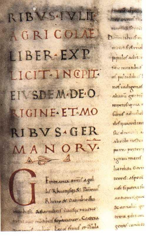 """Die erste Seite der """"Germania"""", der Codex Aesinas"""