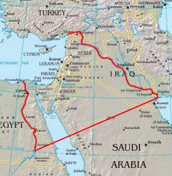 So (rote Grenzlinien) sehen die Außengrenzen von Groß Israel nach dem Yinon-Plan aus, der momentan durch die von USrael aufgebaute Mord-Armee ISIS verwirklicht werden soll.